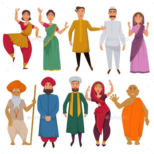 clip library stock Indian people traditional clothes. Vector costume cartoon