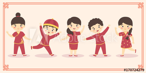 svg library download Cute kids boy girl. Vector costume chinese new year