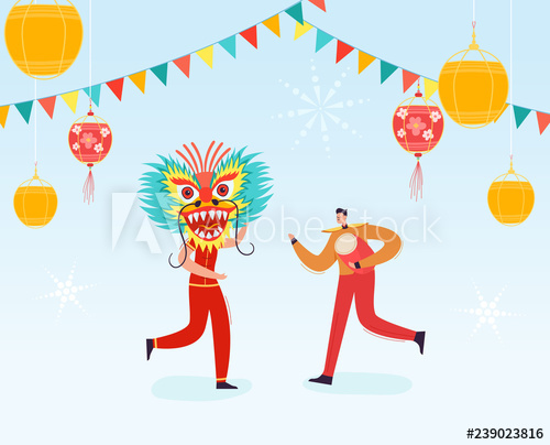 image free library Vector costume chinese new year. Lunar people holding dragon