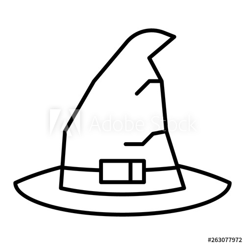 clip art free Vector costume cross. Witch hat thin line