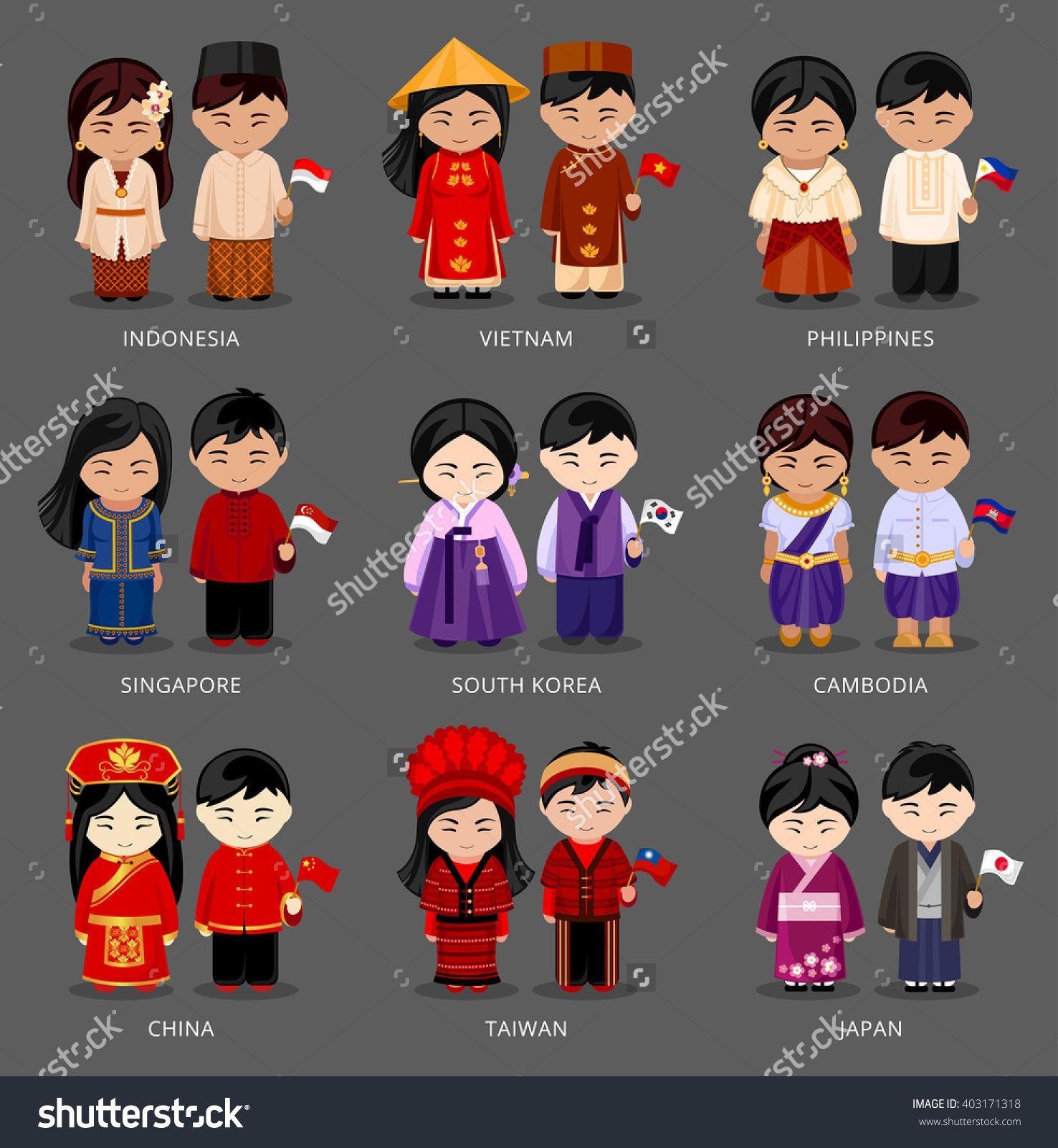 graphic stock Vector costume culture singapore. Set of asian pairs