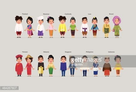 image free library Asean boys and girls. Vector costume culture singapore