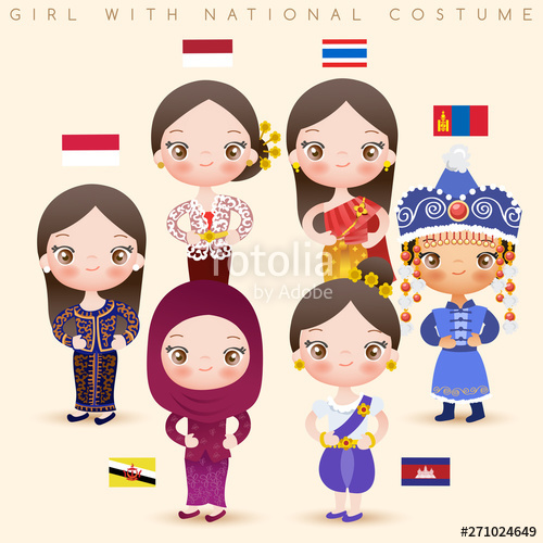 vector black and white Girls in national costumes. Vector costume culture singapore