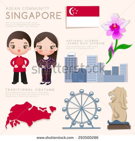 vector black and white library Vector costume culture singapore. Asean economic community aec