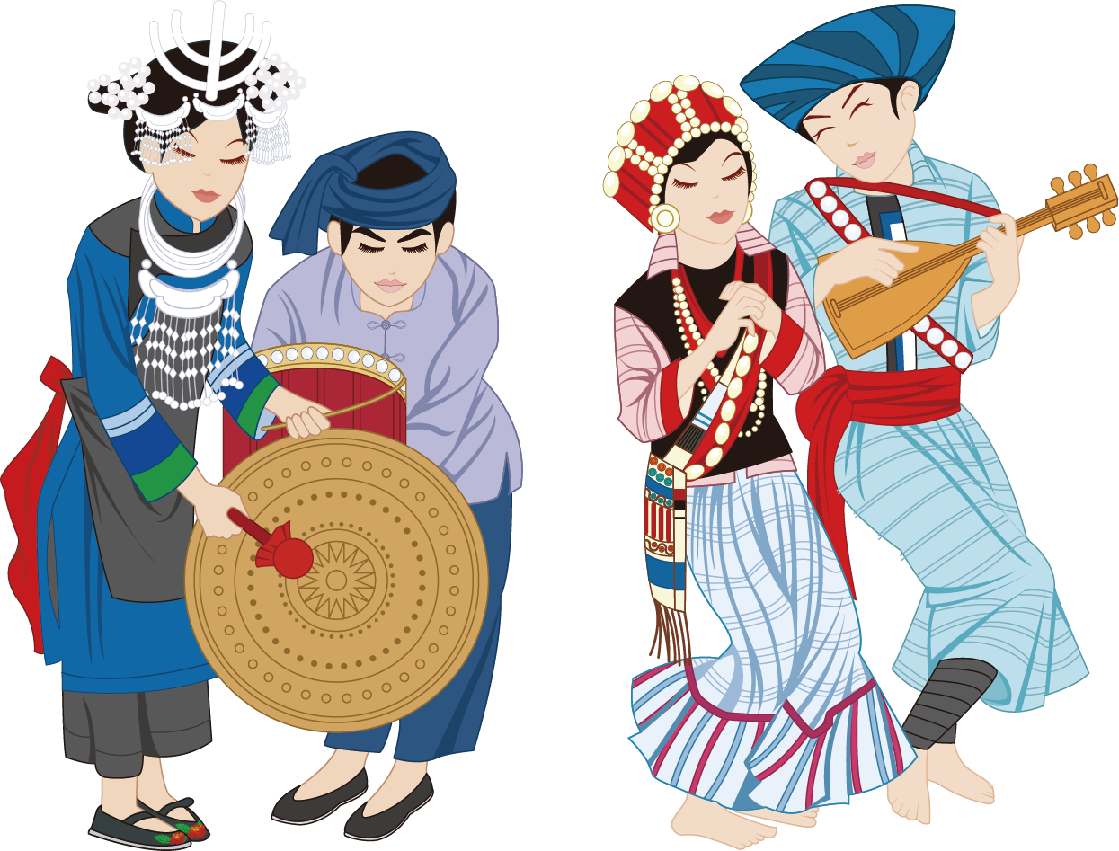 graphic download Vector costume group. China lisu people ethnic