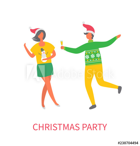 clipart royalty free download Vector costume man glass. Christmas party woman in