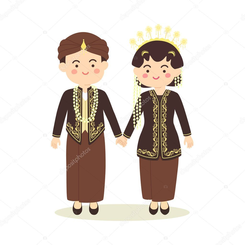 free Central java indonesia wedding. Vector costume person indonesian