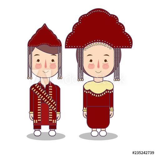 clipart library download Bangka belitung traditional national. Vector costume person indonesian