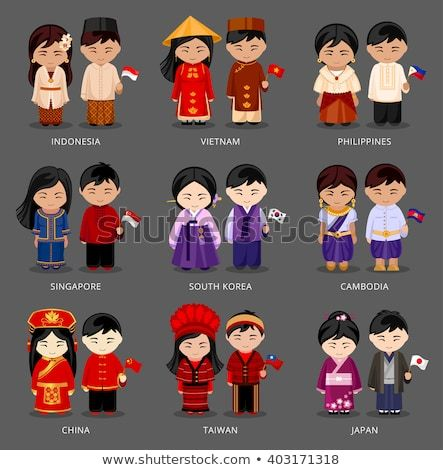 picture royalty free library Vector costume person indonesian. Descubra set of asian