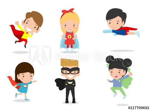 jpg free library Cartoon illustration of kid. Vector costume superhero