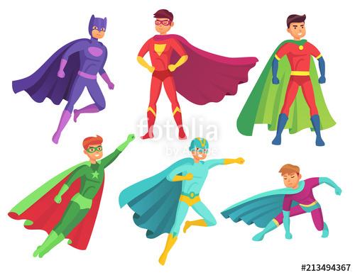 image free stock Vector costume superhero. Man characters cartoon muscular