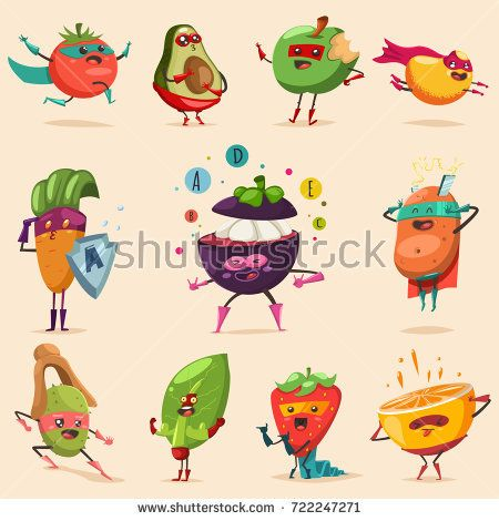 vector free stock Vector costume superhero. Funny fruits and vegetables