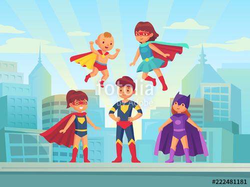 vector free stock Kids team comic hero. Vector costume superhero