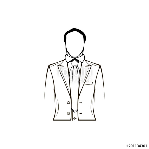 picture black and white download Mans silhouette groom gentleman. Vector costume tuxedo jacket