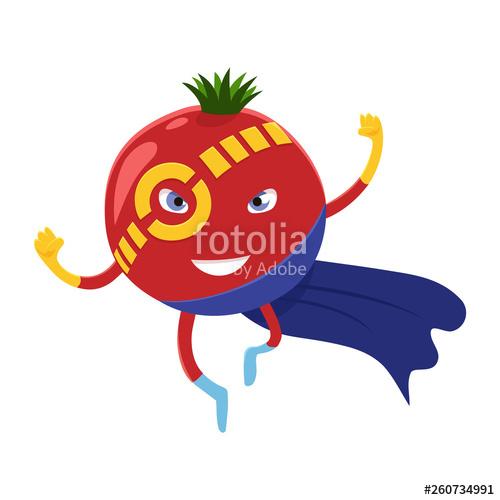 clip art free stock Cute happy tomato superhero. Vector costume vegetable