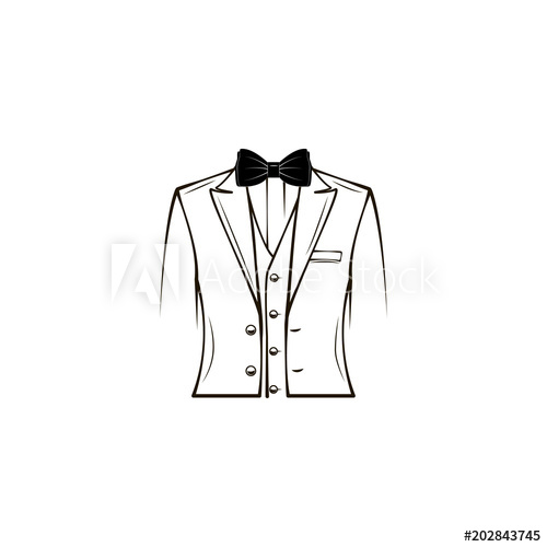 clip art library stock Vector costume wedding tuxedo. Mens suit elegant bow