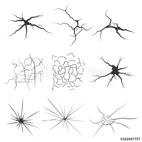 black and white download Vector cracks break glass. Different types isolated textures