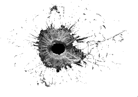 vector freeuse stock Bullet five isolated stock. Vector cracks hole