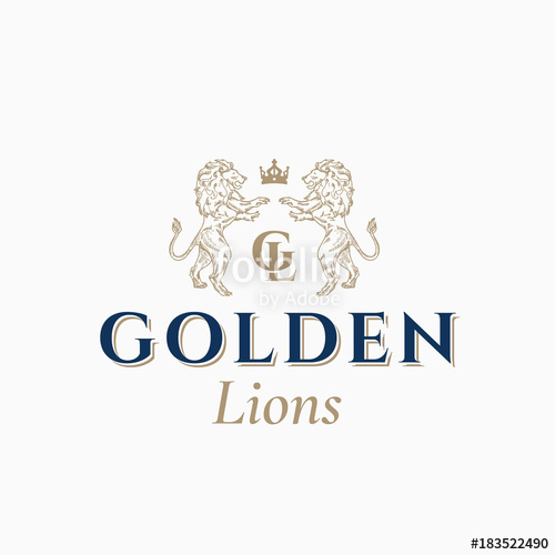 clip freeuse stock Vector crest abstract. Golden lions sign symbol