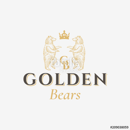 picture transparent library Golden bears sign symbol. Vector crest abstract