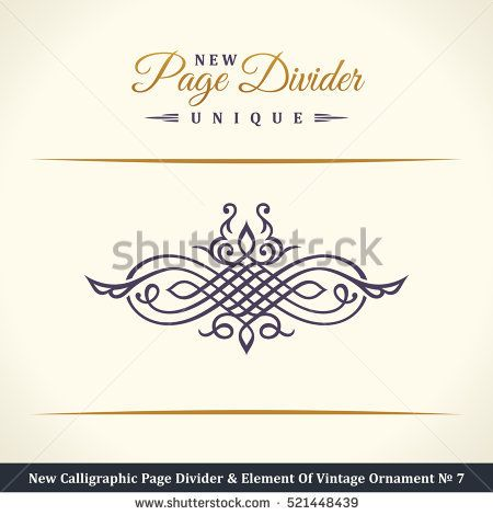 svg library stock New calligraphic page divider. Vector crest border