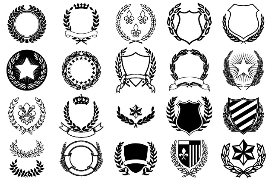 jpg free library Crests graphic objects market. Vector crest creative