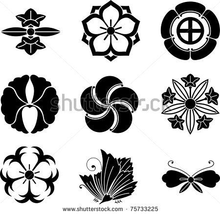 graphic royalty free download Vector crest flower. Japanese family crests stock.