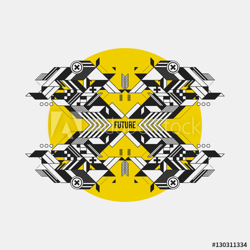 clip black and white stock Vector crest futuristic. Abstract symmetric design element