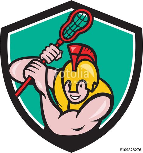 jpg freeuse Lacrosse player stick cartoon. Vector crest gladiator