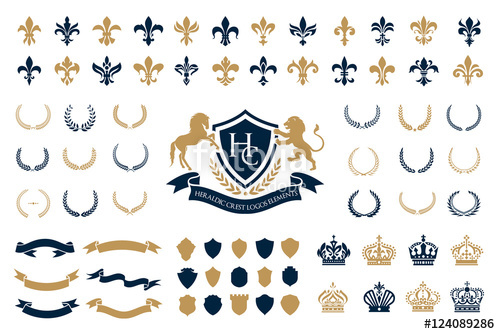 graphic freeuse stock Vector crest heraldry. Heraldic logos elements set