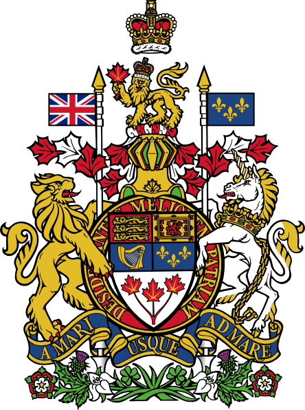 svg black and white stock Vector crest heraldry. Lion unicorn canada coat