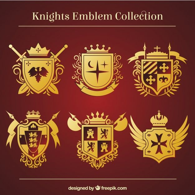clip black and white library Golden emblem templates free. Vector crest knight