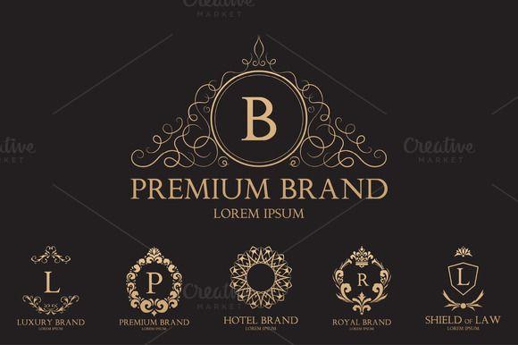 banner Set of templates logos. Vector crest magic
