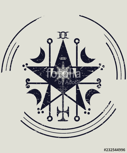 jpg black and white stock Ceremonial sigil with a. Vector crest magic