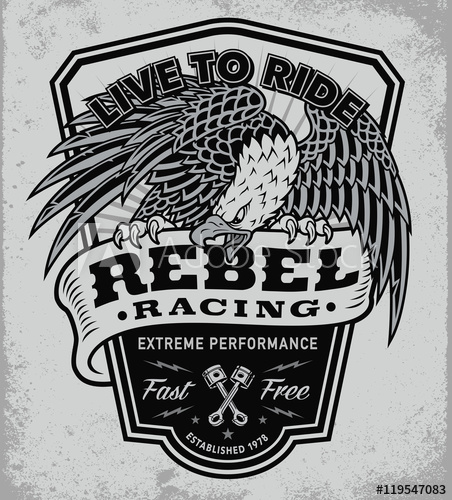 png royalty free stock Vector crest racing. Rebel eagle shield t