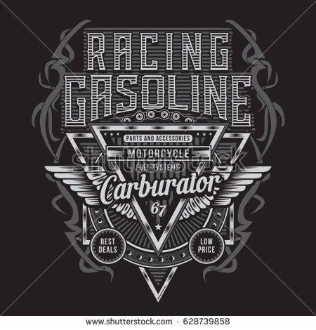 png freeuse Vector crest racing. Gasoline motorcycle typography tee