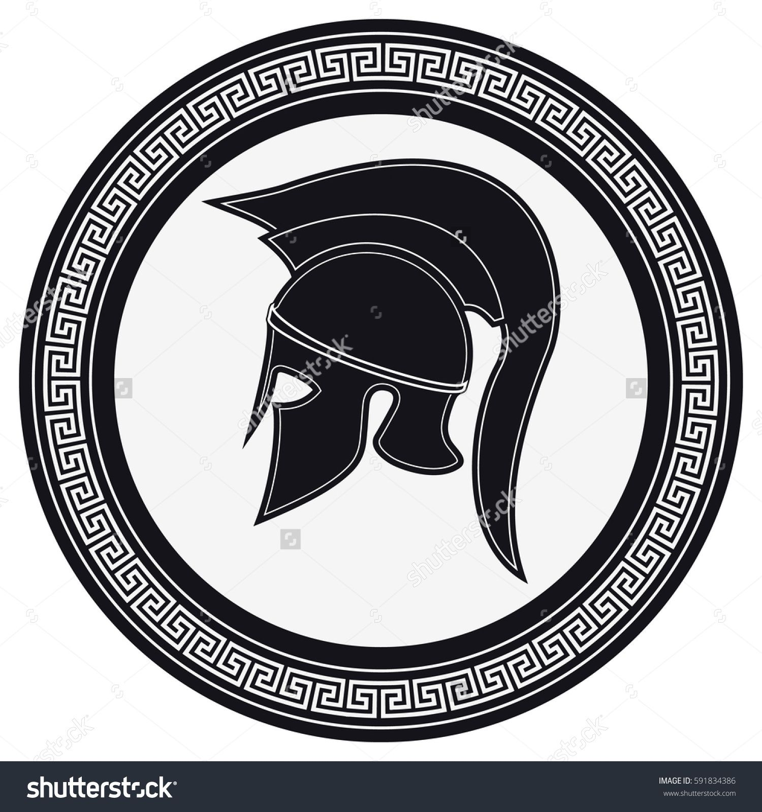 clipart black and white download Vector crest silhouette. Ancient greek helmet with