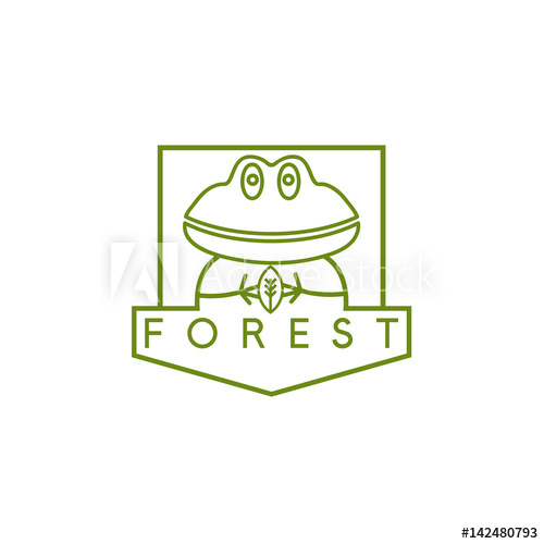 clipart black and white stock Vector crest simple. Line art with frog