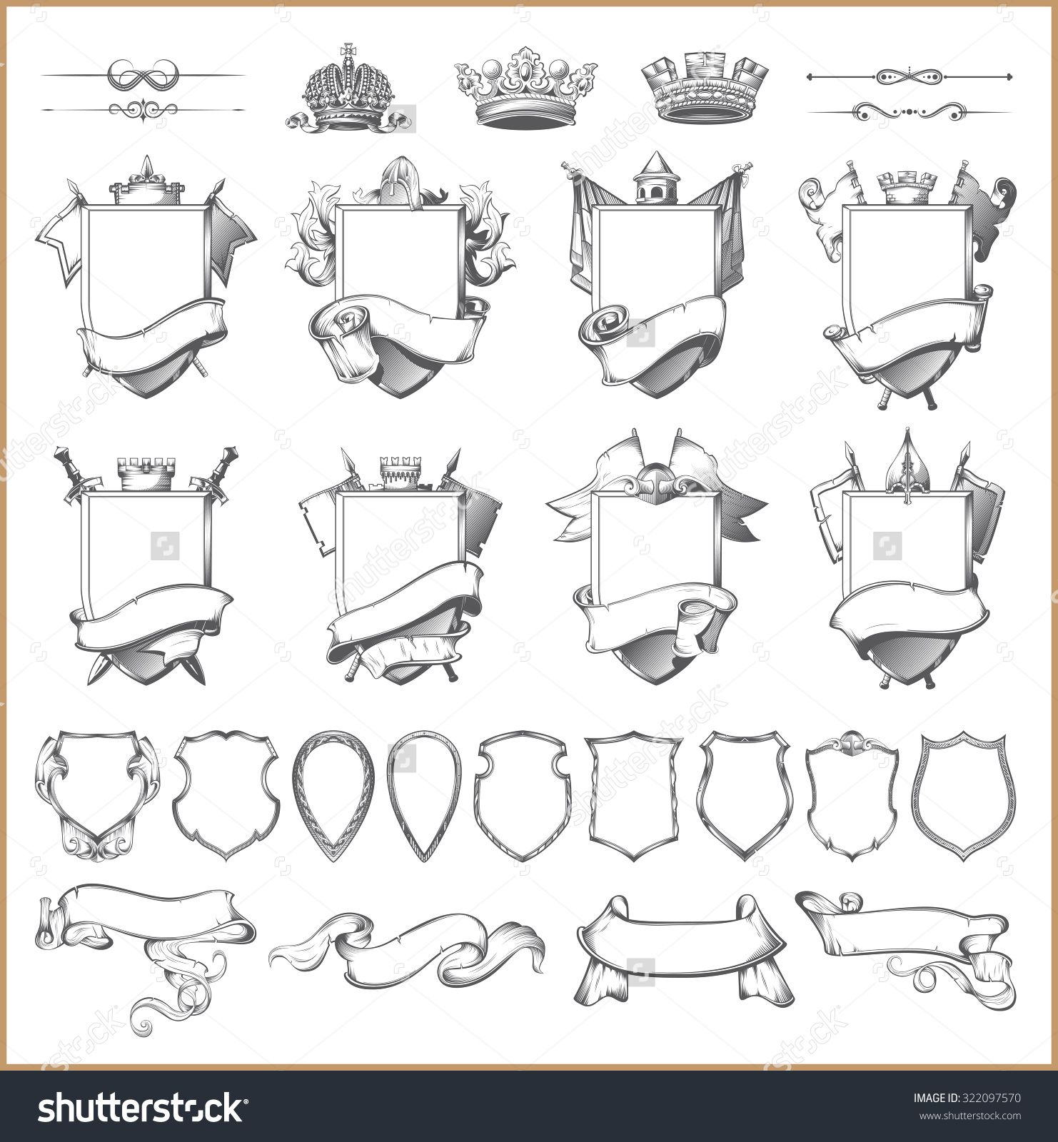 graphic royalty free download Vector crest template. Heraldic element collection and