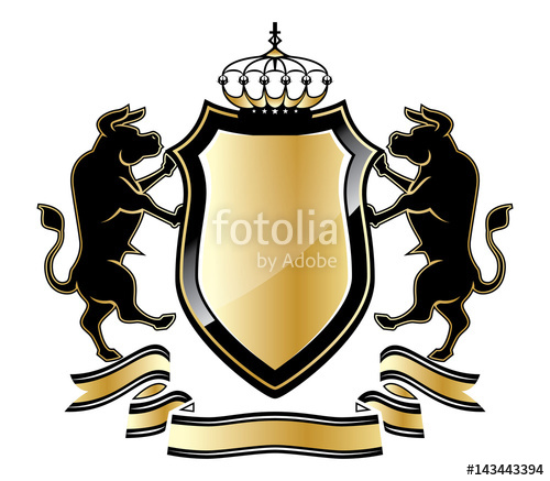 banner library Royal coat arms heraldry. Vector crest weapon
