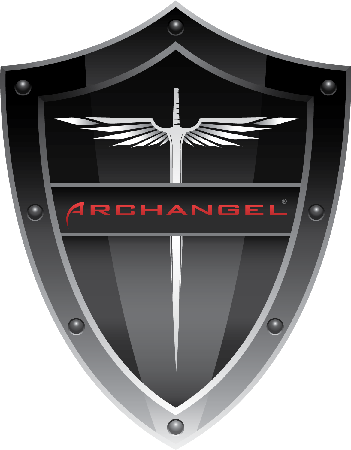 banner black and white download Vector crest weapon. Archangel logo zip package