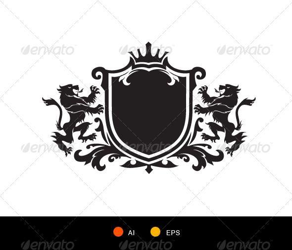 vector free library Vector crest weapon. Lion symbol heraldic decorative