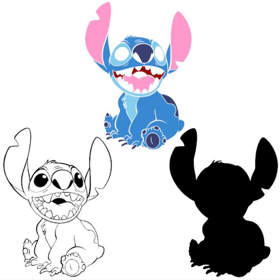 png black and white library Vector cuts. Lilo and stitch sit
