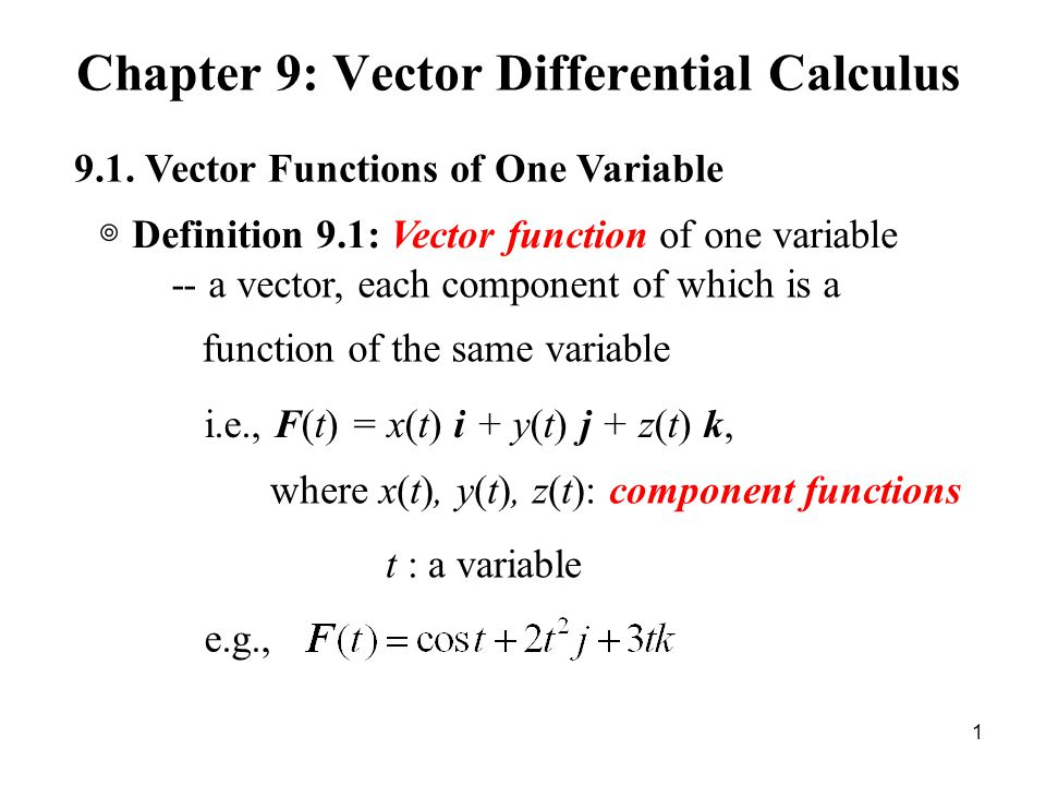 graphic free Chapter differential calculus functions. Vector defintion function