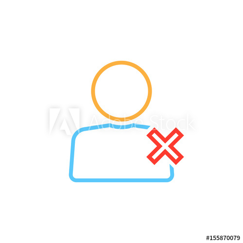 image Vector delete logo. User line icon remove