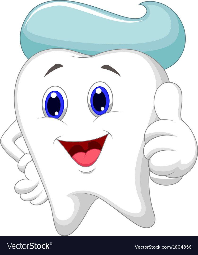 image library stock Vector dental art. Cute tooth cartoon giving