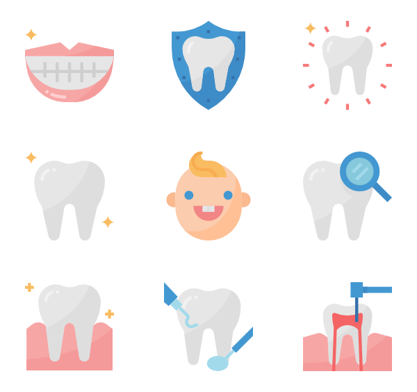 black and white stock Vector dental background. Icons free