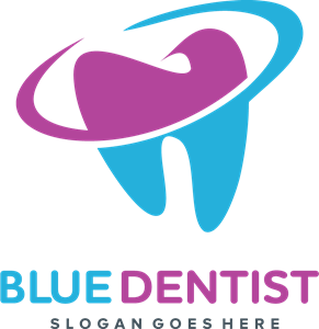 picture black and white Blue dentist logo eps. Vector dental cosmetic dentistry
