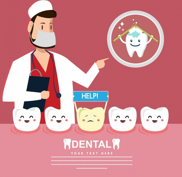 picture royalty free Banner dentist tooth icons. Vector dental cute