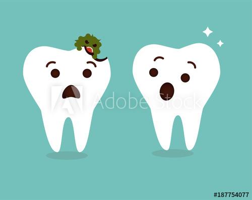 jpg free stock Tooth decay destroyed cartoon. Vector dental cute
